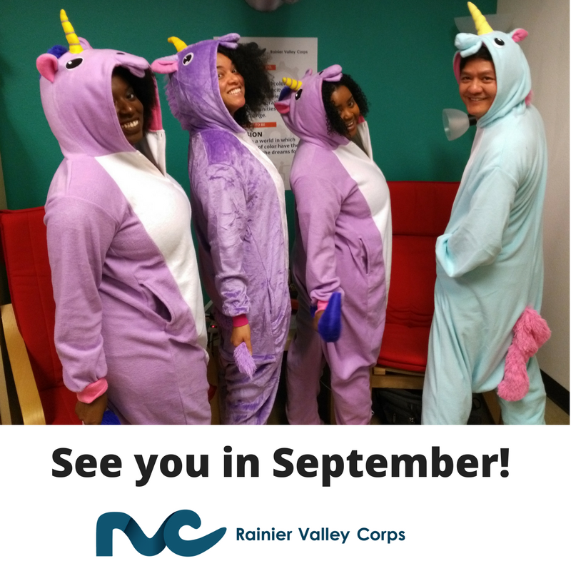 Image Description: RVC  team in matching unicorn onesies posing for the camera.