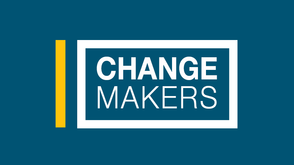 Simple graphic with a dark blue background. Text reads, 'Change Makers""