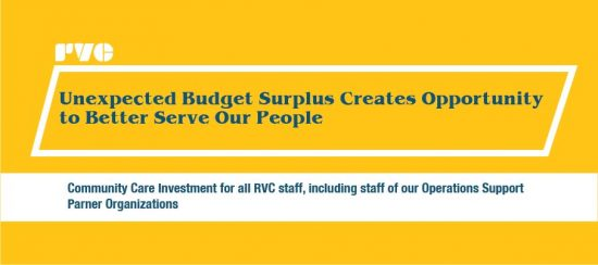 "Graphic with the text ""Community Care Investment for all RVC staff, including staff of our Operations Support Partner Organizations"""