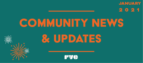 "Simple graphic with a green background and orange text. Text reads, ""Community News & Updates"" Text on the top right hand side of the graphic reads, ""Jan 2021"""