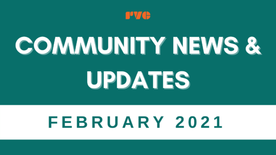"Simple graphic with a green background. Text reads, ""Community News & Updates"" Text on the bottom white label reads, ""February 2021"""