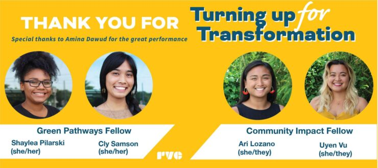 "Simple graphic with a yellow background and white text. Text reads, ""Thank you for Turning up for Transformation with Us"" Graphic includes four photos of RVC fellow panelists."