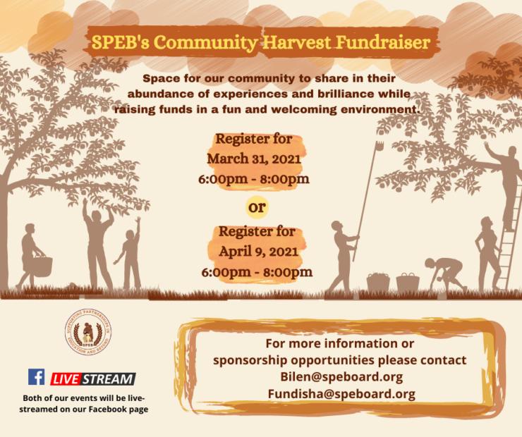 SPEB's Community Harvest Fundraiser Graphic